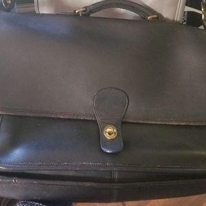 Vintage Black Leather Coach Briefcase